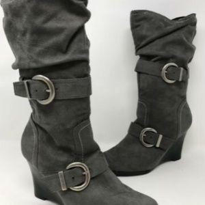 Skechers Mid-Calf Gray wedge boots